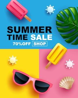 Oferta de verano, diseño de diseño de pancarta, póster, diseño de plantilla, ilustración.