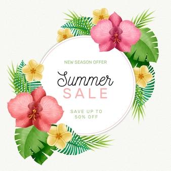 Oferta de verano hola acuarela