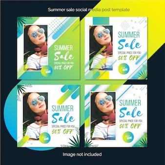 Oferta de verano plantilla de publicación en redes sociales o diseño de banner cuadrado