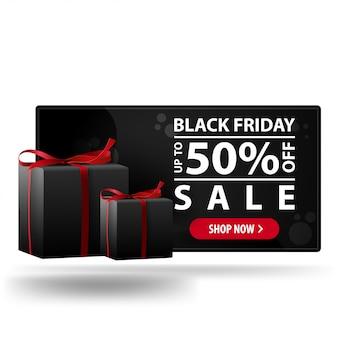 Oferta de viernes negro, hasta 50% de descuento. banner de descuento 3d moderno negro con regalos