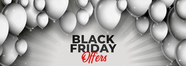 Oferta de viernes negro y banner de venta con globos
