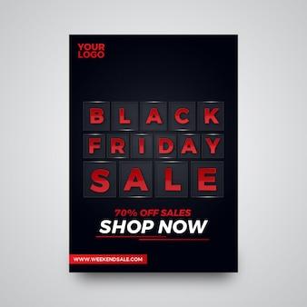Oferta de viernes negro vidriosa oferta de diseño de flyer.