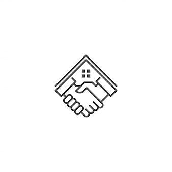 Oferta de vivienda, casa de distribuidor de propiedades. plantilla de icono