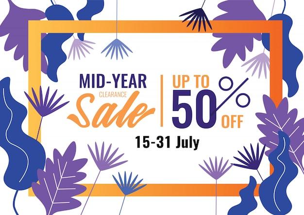 Ofertas especiales y banner de promoción. venta de medio año, venta de verano.