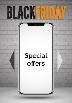 Ofertas especiales de teléfonos inteligentes black friday plantilla de banner realista. teléfono móvil con pantalla vacía 3d. diseño de carteles publicitarios de descuentos de dispositivos portátiles.