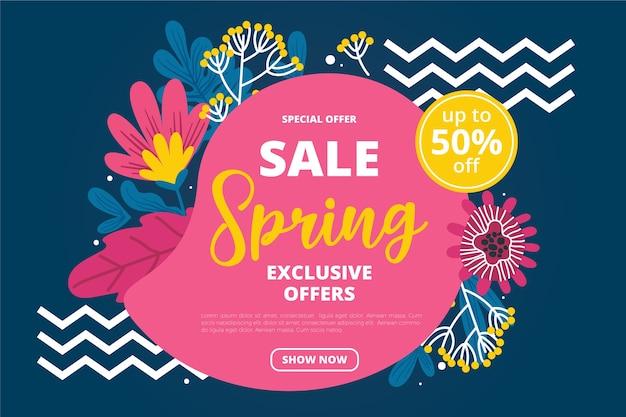 Ofertas especiales de venta de primavera dibujadas a mano