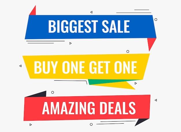 Ofertas de estilo memphis y diseño de banners de venta promocional.