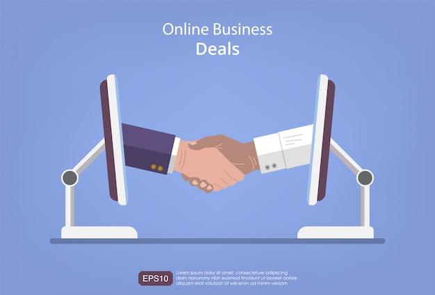 Ofertas de negocios en línea con diseño de concepto de monitor. dos hombre de negocios haciendo apretones de manos virtuales. ilustración de plantilla de vector plano