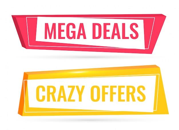 Ofertas y ofertas banner de venta en estilo 3d.
