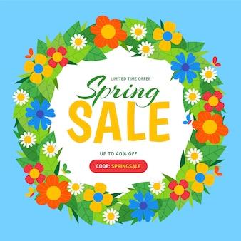 Ofertas de rebajas de primavera con corona de flores