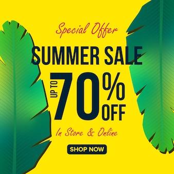 Ofertas de venta de verano banner diseño de fondo