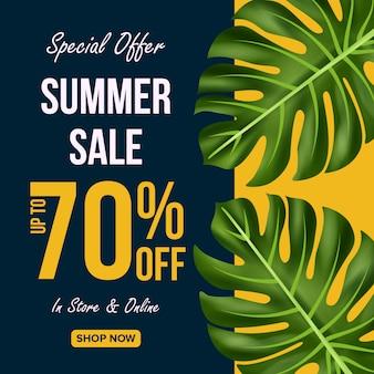 Ofertas de venta de verano banner diseño con hojas de fondo