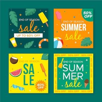 Ofertas de verano de fin de temporada publicaciones de instagram