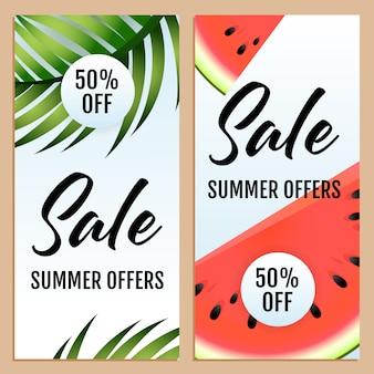 Ofertas de verano de venta, cincuenta por ciento de conjunto de letras