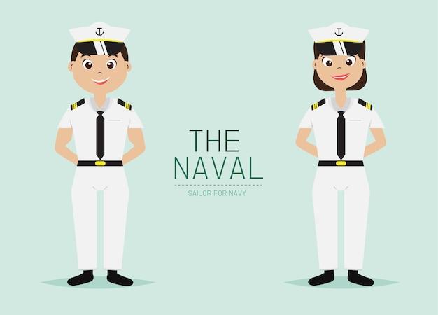 Oficial naval personaje de dibujos animados uniforme.