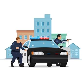 Oficial de policía abrir fuego en coche