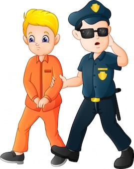 Oficial de policía de dibujos animados con un prisionero