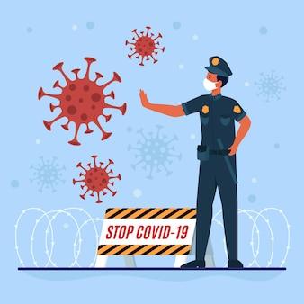 Oficial de policía lucha contra virus en primera línea