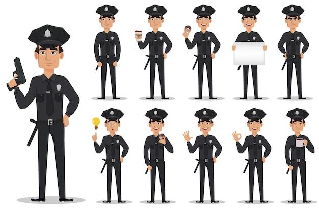 Oficial de policía, policía, conjunto