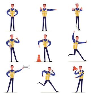 Oficial de tráfico en uniforme con chaleco de alta visibilidad, policía parado en el cruce y haciendo letreros con sus manos ilustraciones