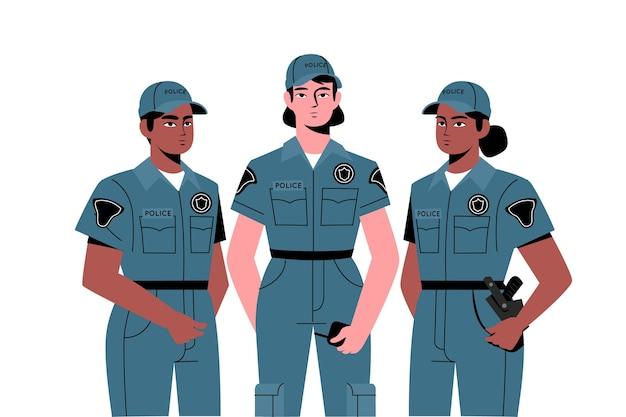 Oficiales de policía en colección de uniformes