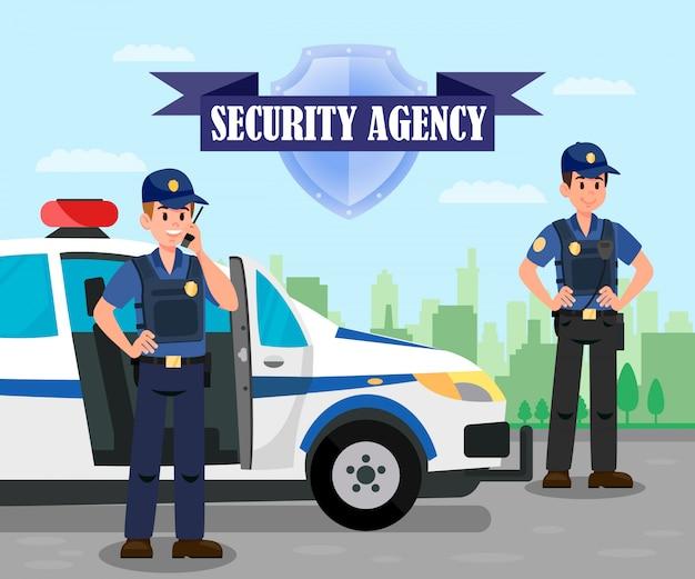 Oficiales de policía en la misión de ilustración en color plano