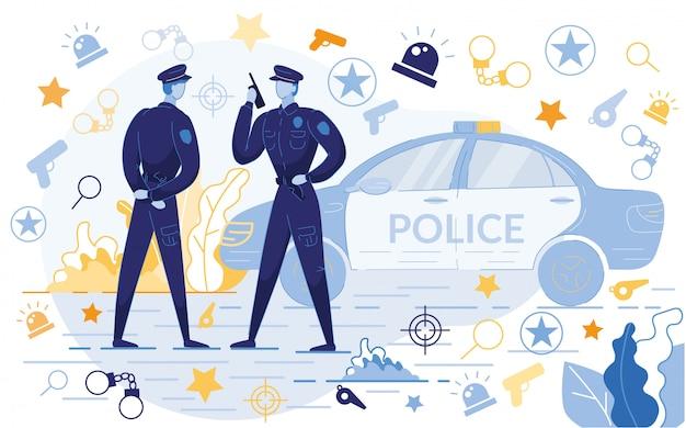 Oficiales de policía de pie cerca de coche con iconos