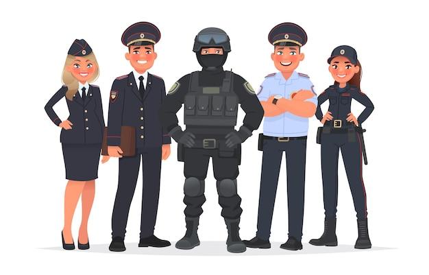 Oficiales de policía rusos sobre un fondo blanco. ilustración vectorial en estilo de dibujos animados