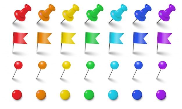 Oficina de accesorios conjunto de vectores de colores. pin realista, bandera, chincheta, imán