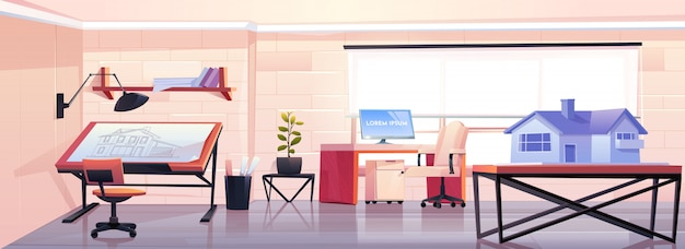 Oficina de arquitecto con plano y maqueta de casa