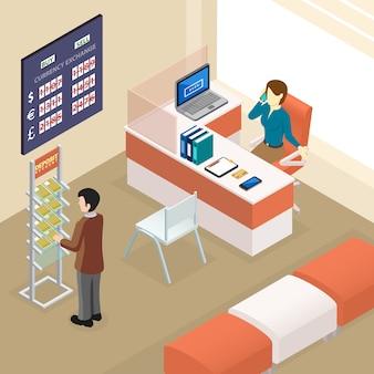 Oficina bancaria isométrica