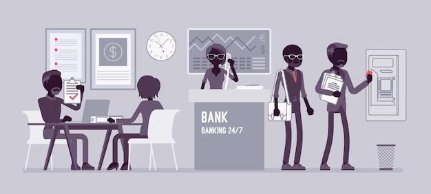 Oficina bancaria trabajando con clientes