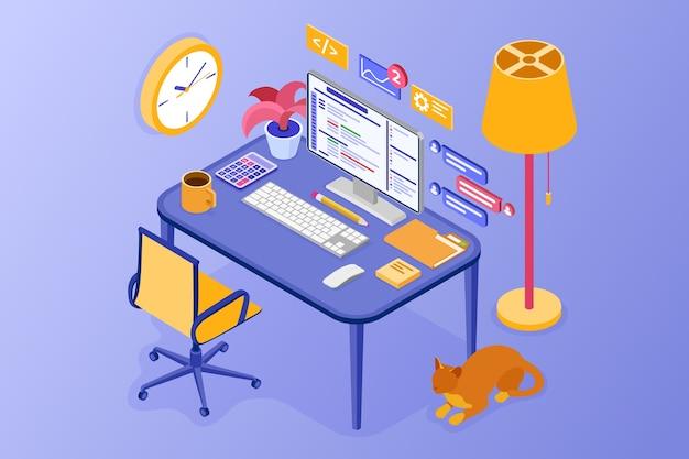Oficina en casa acogedora. trabajar desde el concepto de hogar. programa de desarrollo. computadora mesa silla y pc de escritorio.