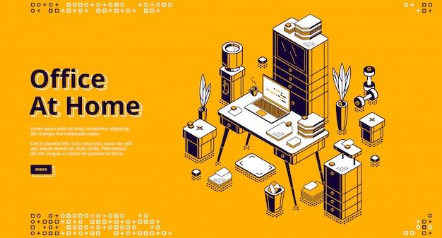 Oficina en casa, lugar de trabajo isométrica banner