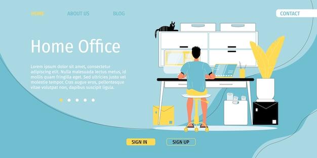 Oficina en casa. organización cómoda del espacio de trabajo.