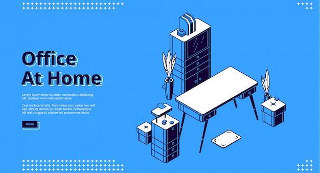 Oficina en casa, página de inicio isométrica, lugar de trabajo