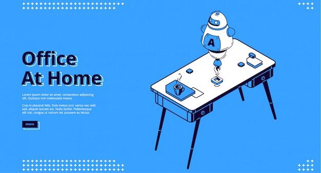 Oficina en casa, página de inicio isométrica del lugar de trabajo