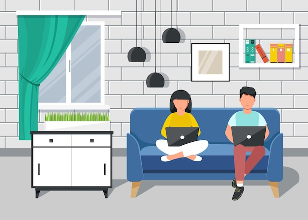 Oficina en casa. personas que trabajan desde casa sentadas en un sofá, estudiante o autónomo.