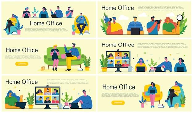 Oficina en casa. trabajo en casa, espacio de coworking, seminario web, ilustración de estilo plano de vector de concepto de videoconferencia