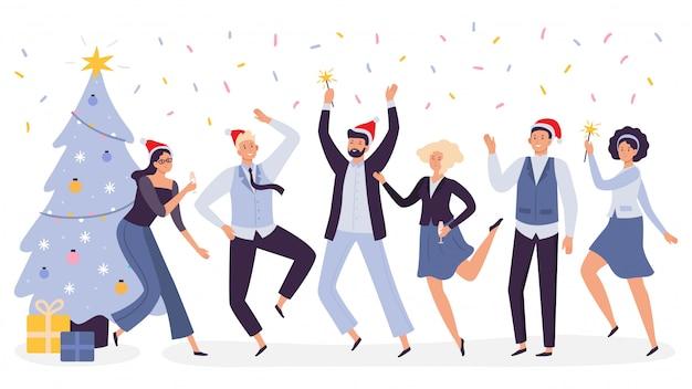 Oficina de celebración de navidad. feliz fiesta corporativa de los trabajadores del equipo de negocios, celebrar el año nuevo en la ilustración de sombreros de navidad