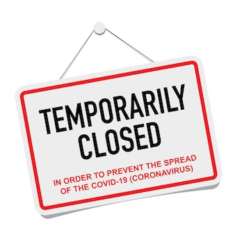 La oficina cerró temporalmente el signo de las noticias sobre coronavirus.