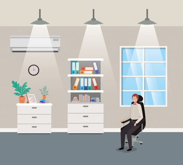 Oficina del corredor con hombre de negocios sentado