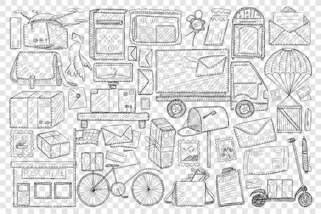 Oficina de correos y envío de cartas doodle conjunto ilustración