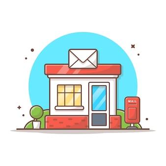 Oficina de correos vector icono ilustración. concepto de icono de edificio y punto de referencia blanco aislado