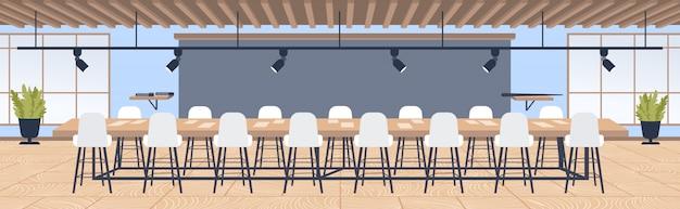 Oficina creativa centro de trabajo compartido moderna sala de conferencias con muebles mesa redonda rodeada de sillas gabinete contemporáneo interior horizontal