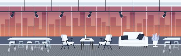 Oficina creativa vacío no gente espacio abierto con muebles moderno centro de trabajo conjunto interior panorámico ventanas paisaje urbano fondo horizontal