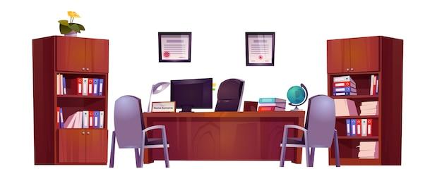 Oficina del director en la escuela para reunirse y hablar con maestros, alumnos y padres