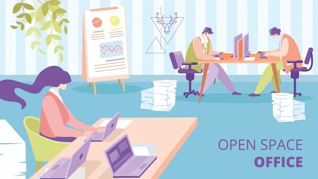 Oficina de espacio abierto plana