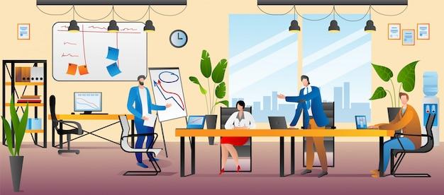 Oficina con gente de negocios, ilustración. reunión creativa de trabajo en equipo, lluvia de ideas de trabajo en equipo en el concepto de mesa. coworking corporativo con grupo humano, trabajo de persona con laptop.