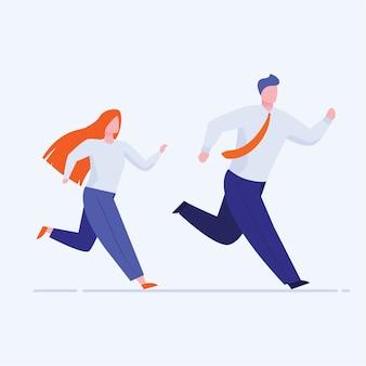 Oficina hombre y mujer corriendo